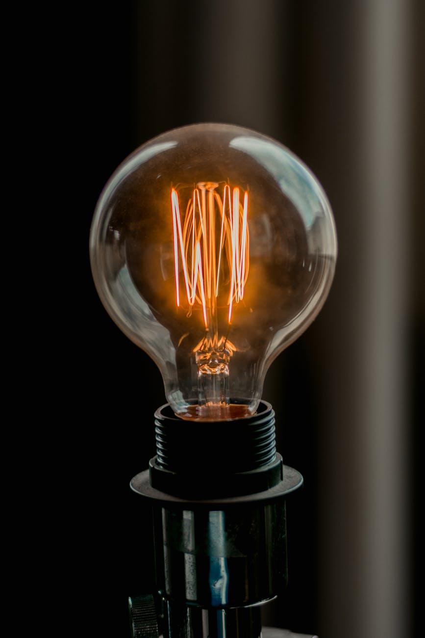 close up photo of lit light bulb